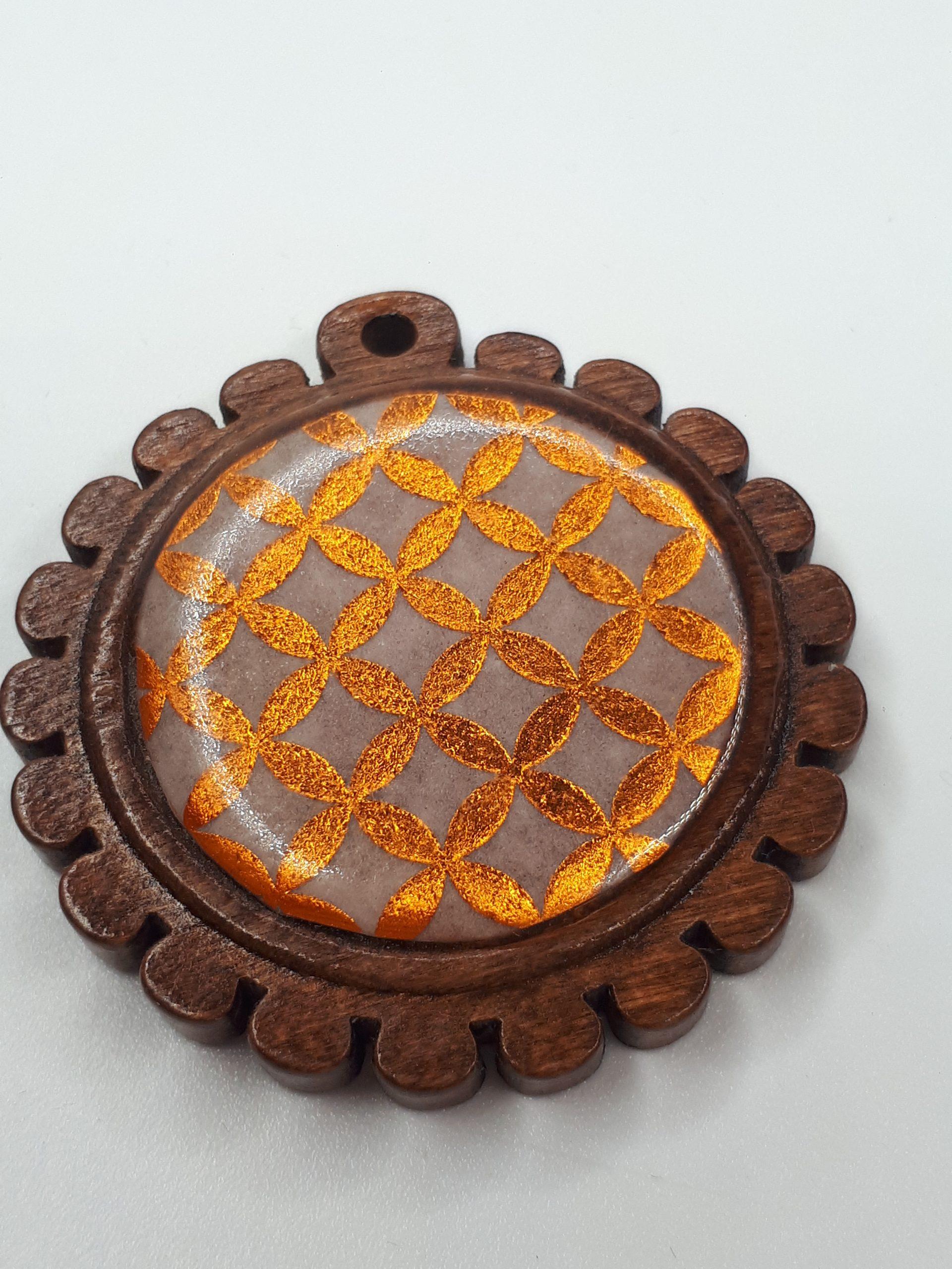 Anhänger - Holz und Geometrie in Bronze